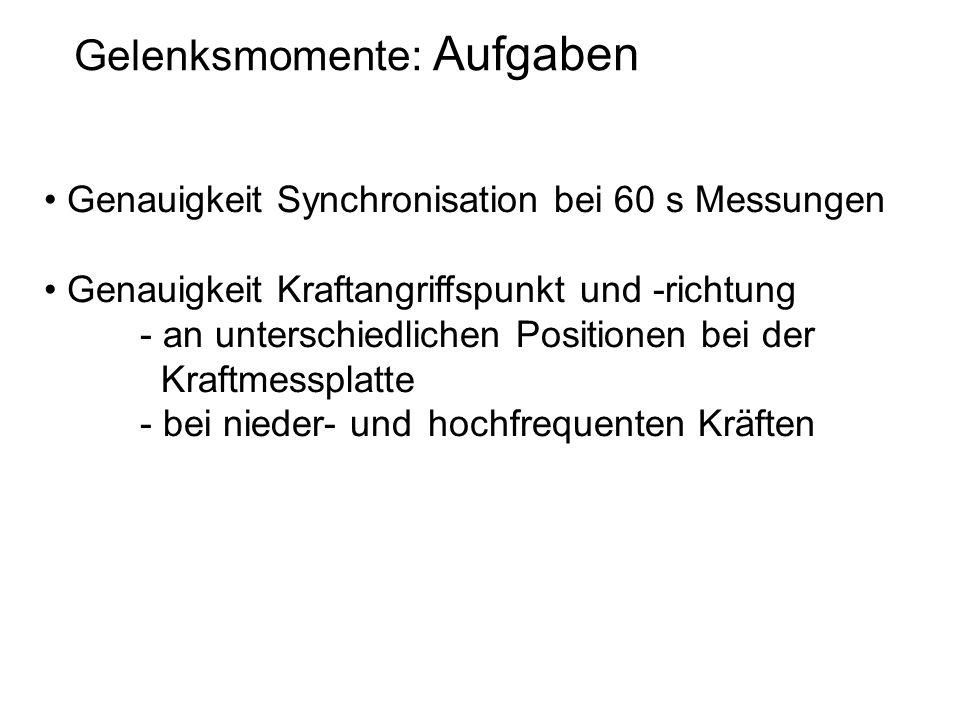 Gelenksmomente: Aufgaben Genauigkeit Synchronisation bei 60 s Messungen Genauigkeit Kraftangriffspunkt und -richtung - an unterschiedlichen Positionen bei der Kraftmessplatte - bei nieder- und hochfrequenten Kräften