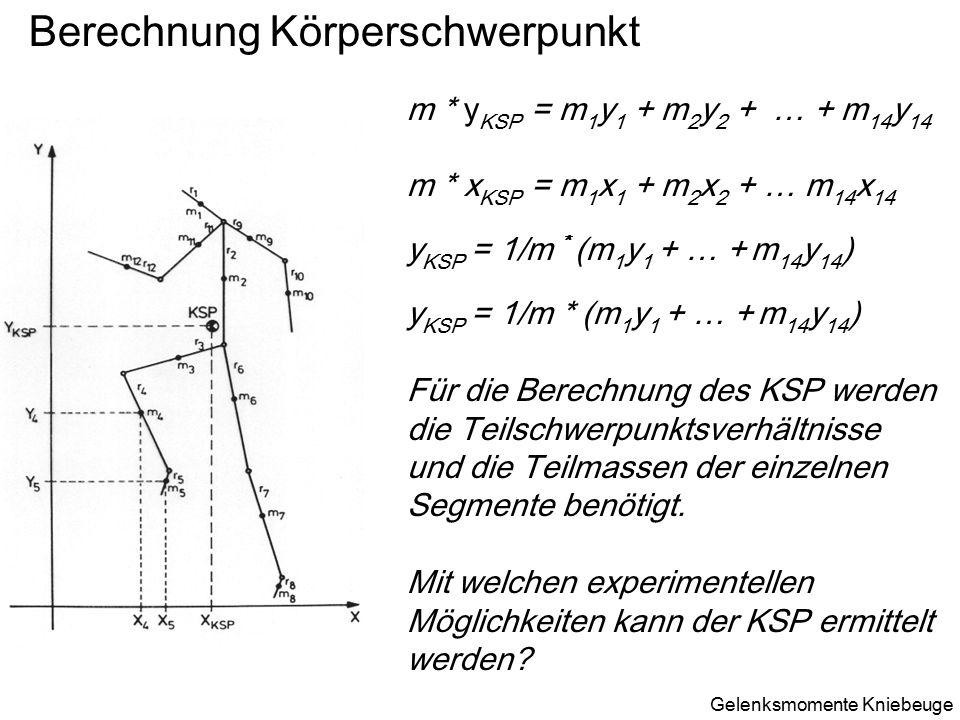 Berechnung Körperschwerpunkt m * y KSP = m 1 y 1 + m 2 y 2 + … + m 14 y 14 m * x KSP = m 1 x 1 + m 2 x 2 + … m 14 x 14 y KSP = 1/m * (m 1 y 1 + … + m 14 y 14 ) Für die Berechnung des KSP werden die Teilschwerpunktsverhältnisse und die Teilmassen der einzelnen Segmente benötigt.