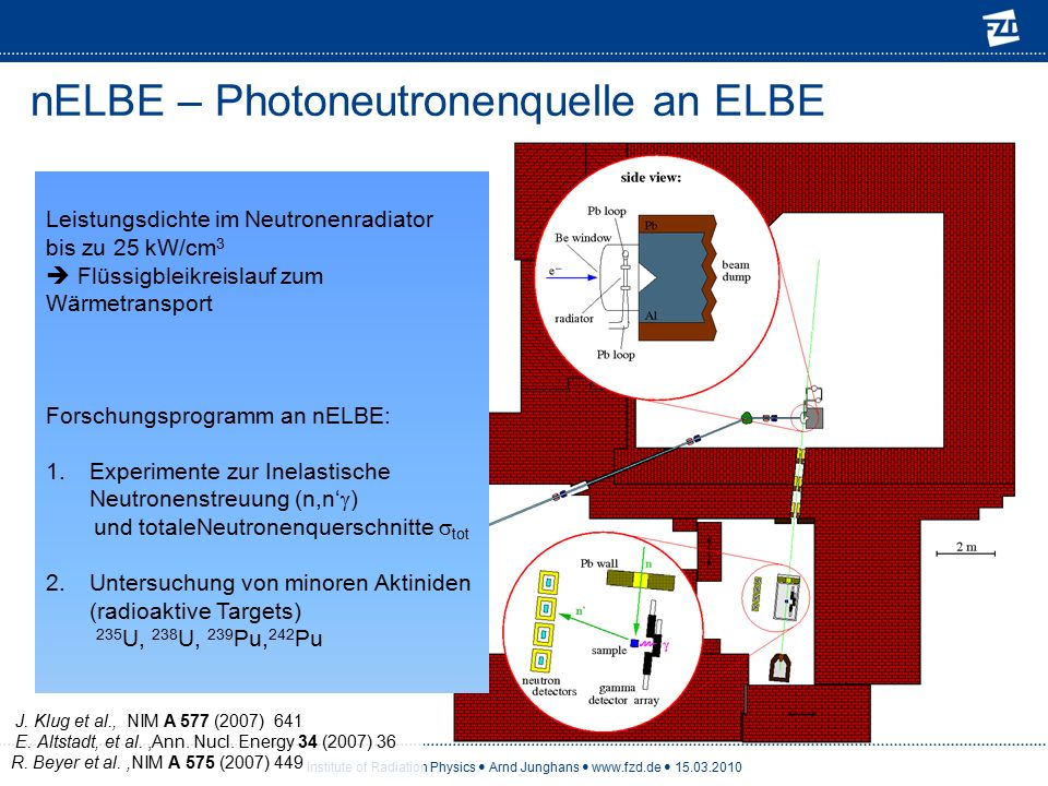 Institute of Radiation Physics Arnd Junghans www.fzd.de 15.03.2010 nELBE – Photoneutronenquelle an ELBE Leistungsdichte im Neutronenradiator bis zu 25