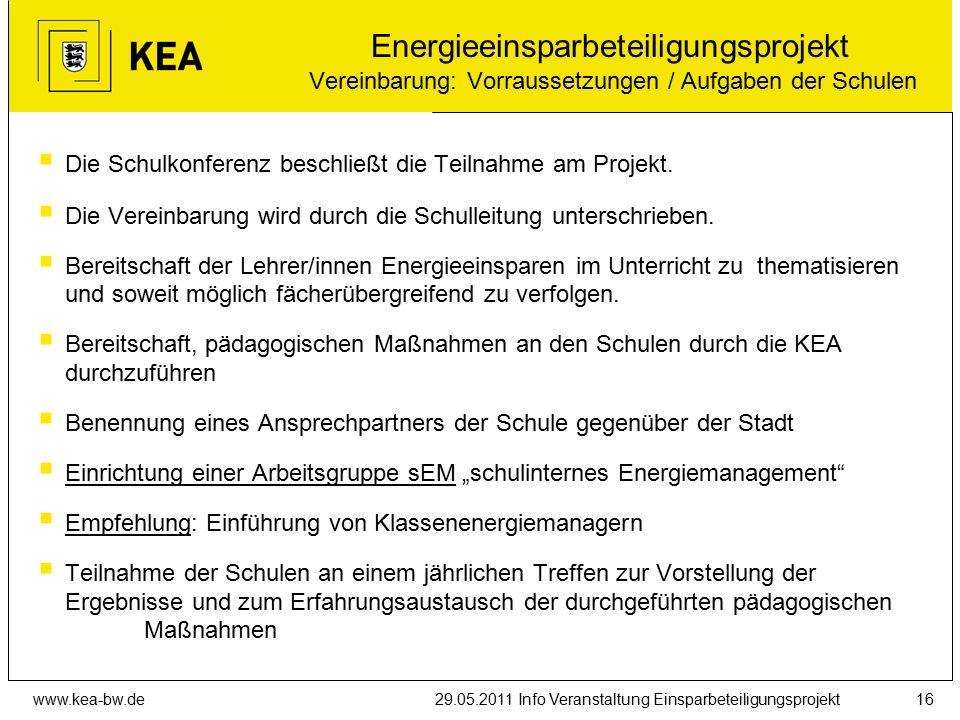 www.kea-bw.de29.05.2011 Info Veranstaltung Einsparbeteiligungsprojekt16  Die Schulkonferenz beschließt die Teilnahme am Projekt.