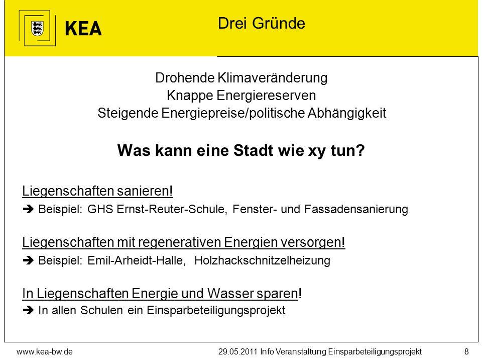 www.kea-bw.de29.05.2011 Info Veranstaltung Einsparbeteiligungsprojekt8 Drei Gründe Drohende Klimaveränderung Knappe Energiereserven Steigende Energiepreise/politische Abhängigkeit Was kann eine Stadt wie xy tun.