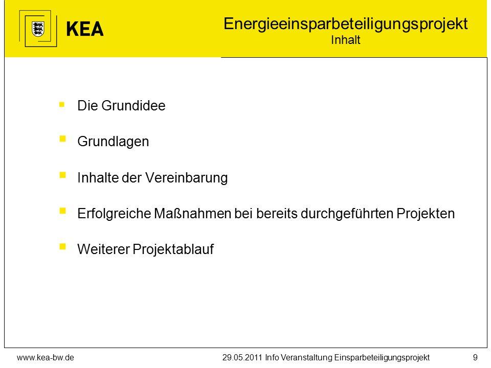 www.kea-bw.de29.05.2011 Info Veranstaltung Einsparbeteiligungsprojekt9 Energieeinsparbeteiligungsprojekt Inhalt  Die Grundidee  Grundlagen  Inhalte der Vereinbarung  Erfolgreiche Maßnahmen bei bereits durchgeführten Projekten  Weiterer Projektablauf