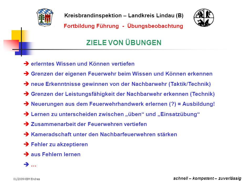 Kreisbrandinspektion – Landkreis Lindau (B) schnell – kompetent – zuverlässig Fortbildung Führung - Übungsbeobachtung 01/2009 KBM Endres Beobachten bei der THL