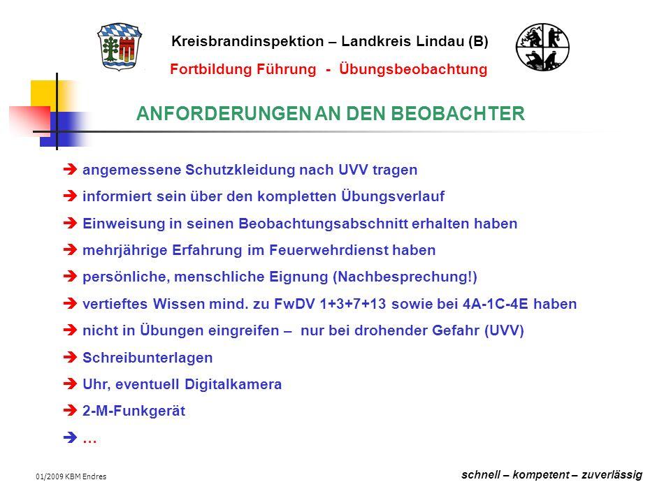 Kreisbrandinspektion – Landkreis Lindau (B) schnell – kompetent – zuverlässig Fortbildung Führung - Übungsbeobachtung 01/2009 KBM Endres Beobachten bei der Wasserversorgung