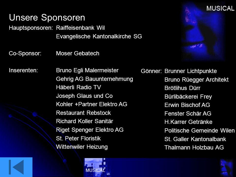 Lokaler Veranstalter Das Musical in Bronschhofen wird durch die Evangelische Kirchgemeinde Wil organisiert. Die Gemeindeleitung wünscht viel Freude. w