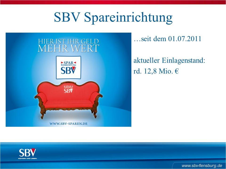 SBV Spareinrichtung …seit dem 01.07.2011 aktueller Einlagenstand: rd. 12,8 Mio. €