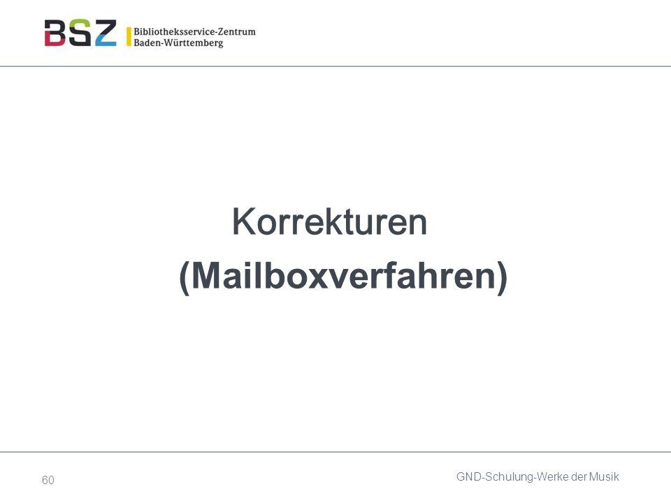 60 Korrekturen (Mailboxverfahren) GND-Schulung-Werke der Musik
