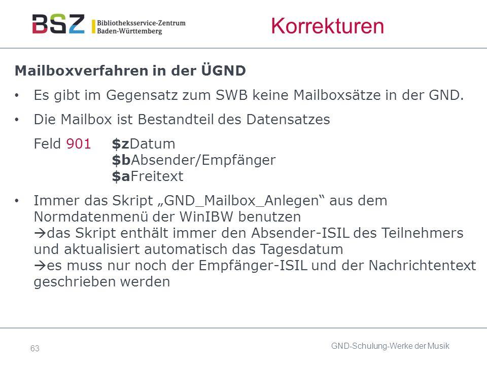 63 Korrekturen Mailboxverfahren in der ÜGND Es gibt im Gegensatz zum SWB keine Mailboxsätze in der GND.