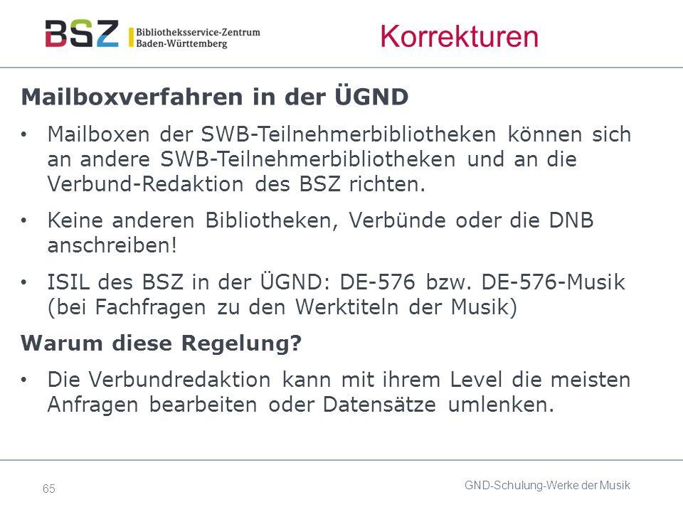 65 Korrekturen Mailboxverfahren in der ÜGND Mailboxen der SWB-Teilnehmerbibliotheken können sich an andere SWB-Teilnehmerbibliotheken und an die Verbund-Redaktion des BSZ richten.