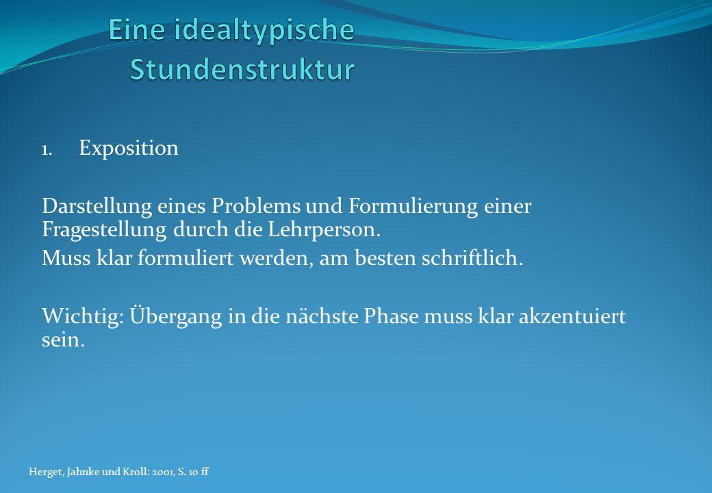 1. Exposition Darstellung eines Problems und Formulierung einer Fragestellung durch die Lehrperson. Muss klar formuliert werden, am besten schriftlich