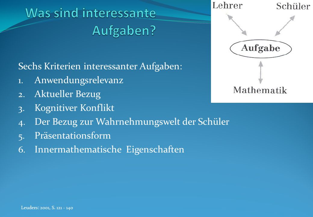 Sechs Kriterien interessanter Aufgaben: 1. Anwendungsrelevanz 2. Aktueller Bezug 3. Kognitiver Konflikt 4. Der Bezug zur Wahrnehmungswelt der Schüler