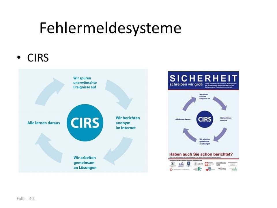 Fehlermeldesysteme CIRS Folie - 40 -