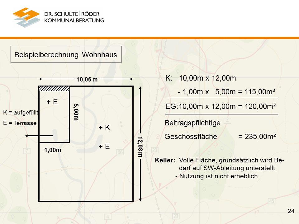 24 10,06 m 12,08 m + K + E Beispielberechnung Wohnhaus + E K = aufgefüllt E = Terrasse K: 10,00m x 12,00m - 1,00m x 5,00m = 115,00m² EG:10,00m x 12,00m = 120,00m² Beitragspflichtige Geschossfläche = 235,00m² 5,00m 1,00m Keller: Volle Fläche, grundsätzlich wird Be- darf auf SW-Ableitung unterstellt - Nutzung ist nicht erheblich