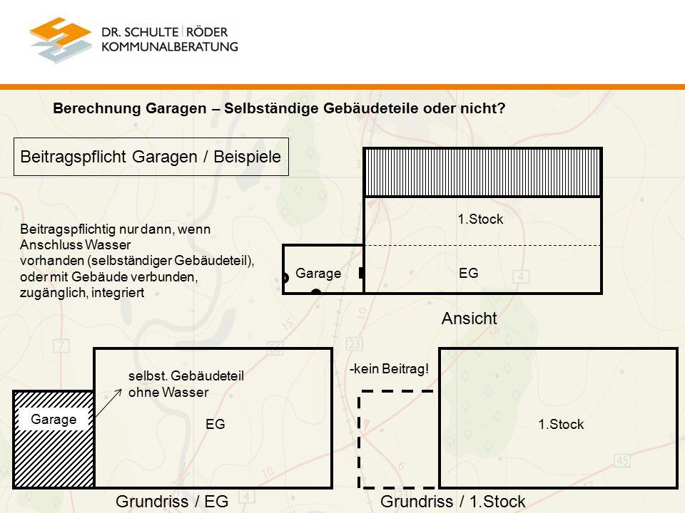 Beitragspflicht Garagen / Beispiele Garage 1.Stock EG Garage 1.Stock Ansicht Grundriss / EGGrundriss / 1.Stock Berechnung Garagen – Selbständige Gebäudeteile oder nicht.