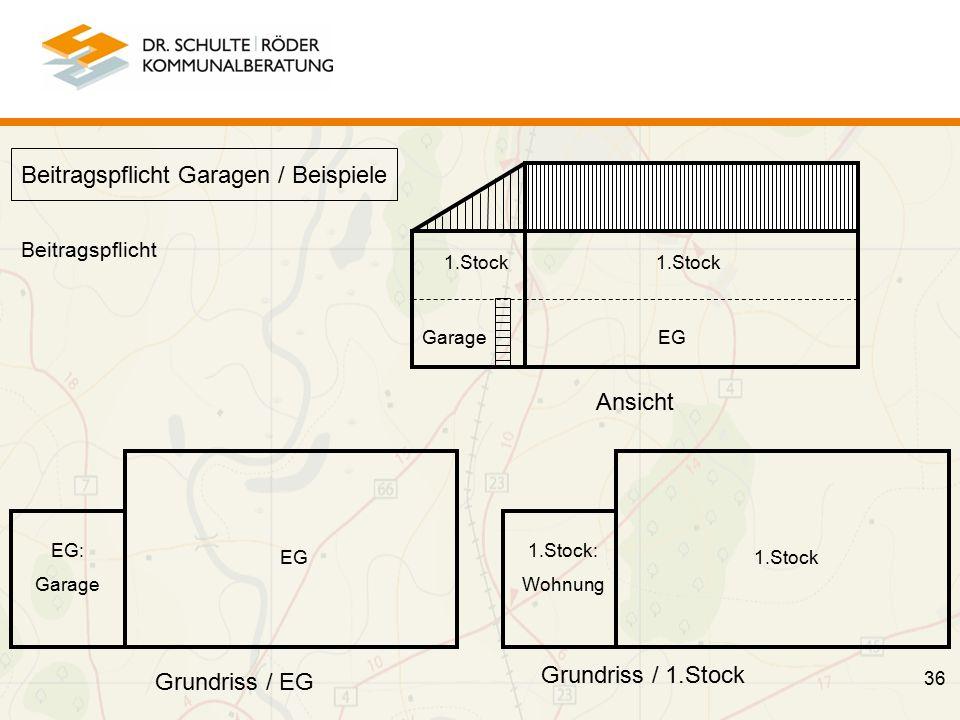 36 Beitragspflicht Garagen / Beispiele 1.Stock Garage 1.Stock EG EG: Garage 1.Stock 1.Stock: Wohnung Ansicht Grundriss / EG Grundriss / 1.Stock Beitragspflicht
