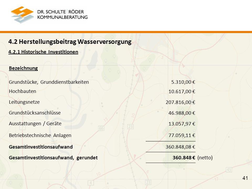41 4.2 Herstellungsbeitrag Wasserversorgung 4.2.1 Historische Investitionen Bezeichnung Grundstücke, Grunddienstbarkeiten 5.310,00 € Hochbauten 10.617,00 € Leitungsnetze 207.816,00 € Grundstücksanschlüsse 46.988,00 € Ausstattungen / Geräte 13.057,97 € Betriebstechnische Anlagen 77.059,11 € Gesamtinvestitionsaufwand 360.848,08 € Gesamtinvestitionsaufwand, gerundet 360.848 € (netto)