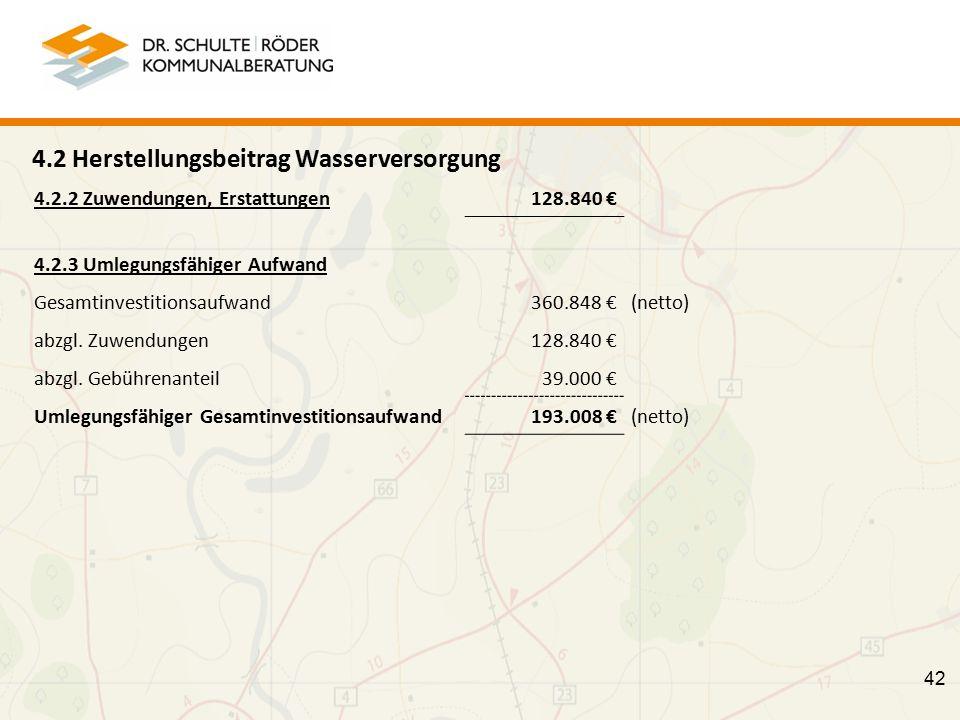 4.2 Herstellungsbeitrag Wasserversorgung 4.2.2 Zuwendungen, Erstattungen 128.840 € 4.2.3 Umlegungsfähiger Aufwand Gesamtinvestitionsaufwand360.848 €(netto) abzgl.
