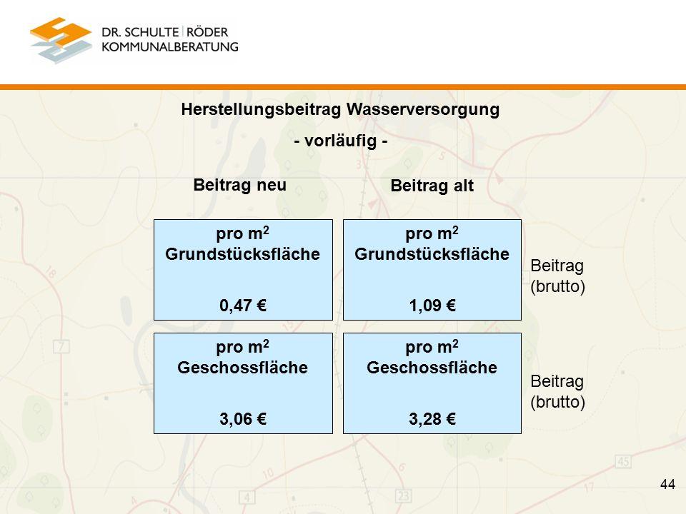 Herstellungsbeitrag Wasserversorgung - vorläufig - Beitrag (brutto) Beitrag (brutto) 44 pro m 2 Grundstücksfläche 1,09 € pro m 2 Geschossfläche 3,28 € Beitrag alt pro m 2 Grundstücksfläche 0,47 € pro m 2 Geschossfläche 3,06 € Beitrag neu