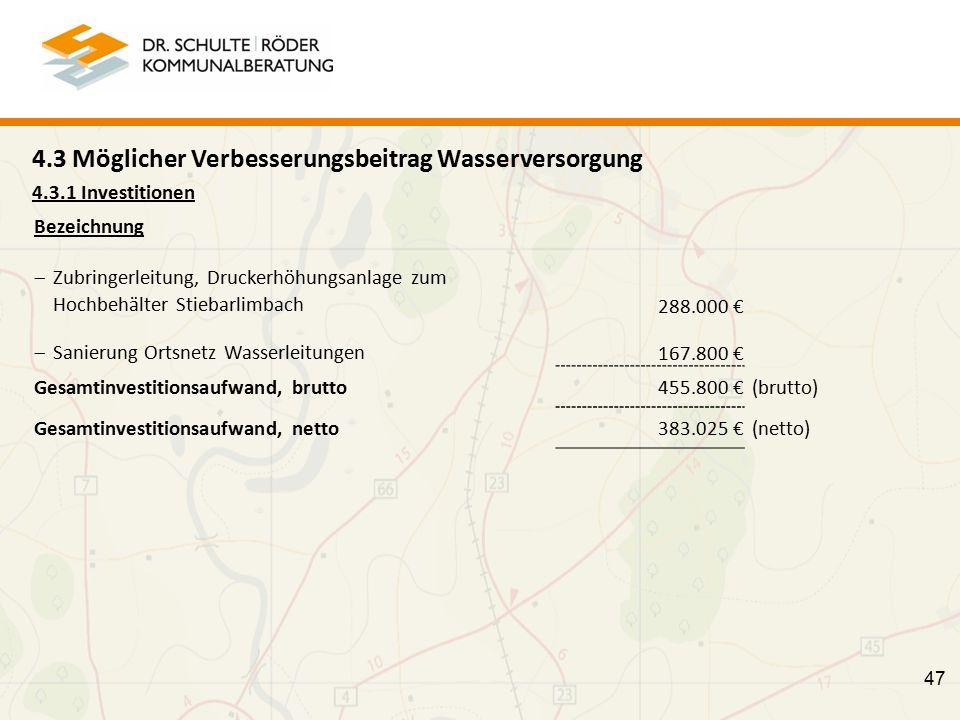 47 4.3 Möglicher Verbesserungsbeitrag Wasserversorgung 4.3.1 Investitionen Bezeichnung  Zubringerleitung, Druckerhöhungsanlage zum Hochbehälter Stiebarlimbach 288.000 €  Sanierung Ortsnetz Wasserleitungen 167.800 € Gesamtinvestitionsaufwand, brutto 455.800 € (brutto) Gesamtinvestitionsaufwand, netto 383.025 € (netto)