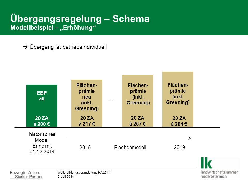 "Übergangsregelung – Schema Modellbeispiel – ""Erhöhung EBP alt Flächen- prämie neu (inkl."