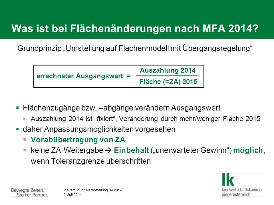Was ist bei Flächenänderungen nach MFA 2014.  Flächenzugänge bzw.