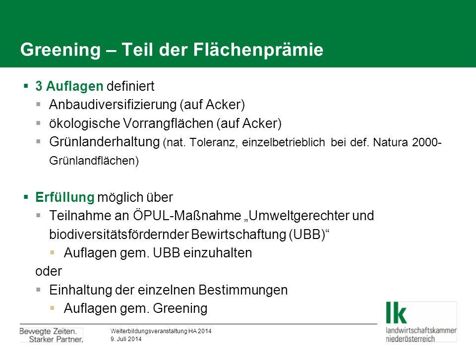 Greening – Teil der Flächenprämie  3 Auflagen definiert  Anbaudiversifizierung (auf Acker)  ökologische Vorrangflächen (auf Acker)  Grünlanderhaltung (nat.