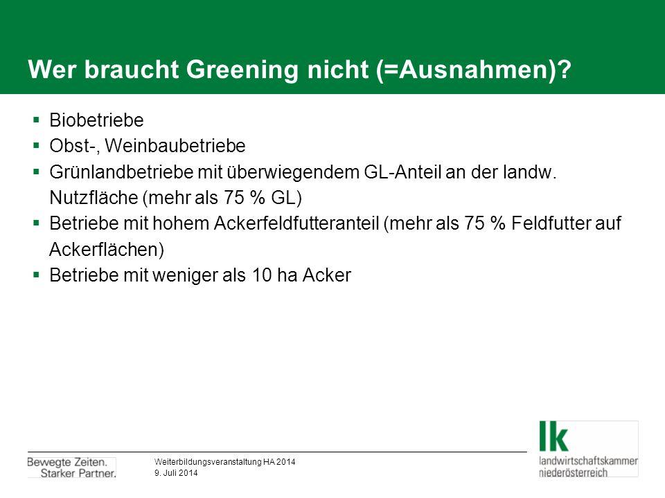 Wer braucht Greening nicht (=Ausnahmen).