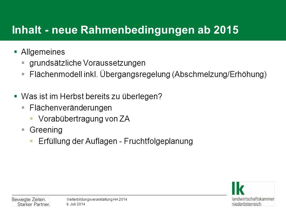 Inhalt - neue Rahmenbedingungen ab 2015  Allgemeines  grundsätzliche Voraussetzungen  Flächenmodell inkl.