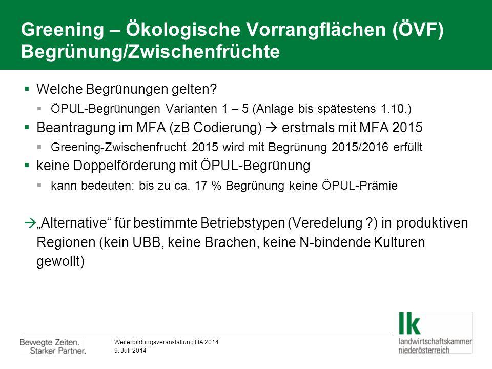 Greening – Ökologische Vorrangflächen (ÖVF) Begrünung/Zwischenfrüchte  Welche Begrünungen gelten.