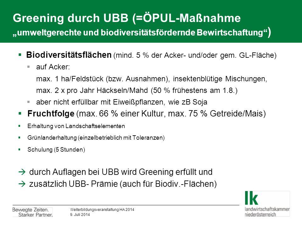 """Greening durch UBB (=ÖPUL-Maßnahme """"umweltgerechte und biodiversitätsfördernde Bewirtschaftung )  Biodiversitätsflächen (mind."""
