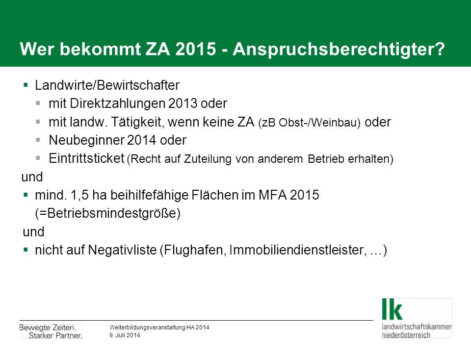 Neues Flächenmodell ab 2015  Österreich ist eine Region  Differenzierung bei ZA-Zuteilung  Acker, Grünland, Wein, Obst  1 ha = 1 ZA  einheitliche Flächenprämie ab 2019 ca.