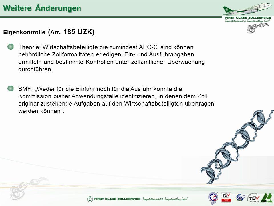 Eigenkontrolle ( Art. 185 UZK) Theorie: Wirtschaftsbeteiligte die zumindest AEO-C sind können behördliche Zollformalitäten erledigen, Ein- und Ausfuhr