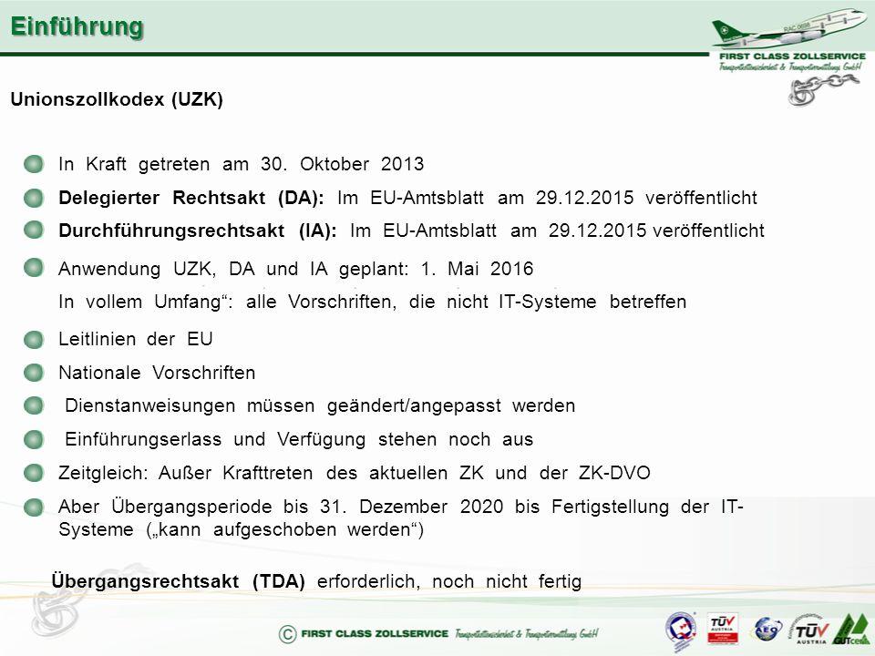 Unionszollkodex (UZK) In Kraft getreten am 30. Oktober 2013 Delegierter Rechtsakt (DA): Im EU-Amtsblatt am 29.12.2015 veröffentlicht Durchführungsrech