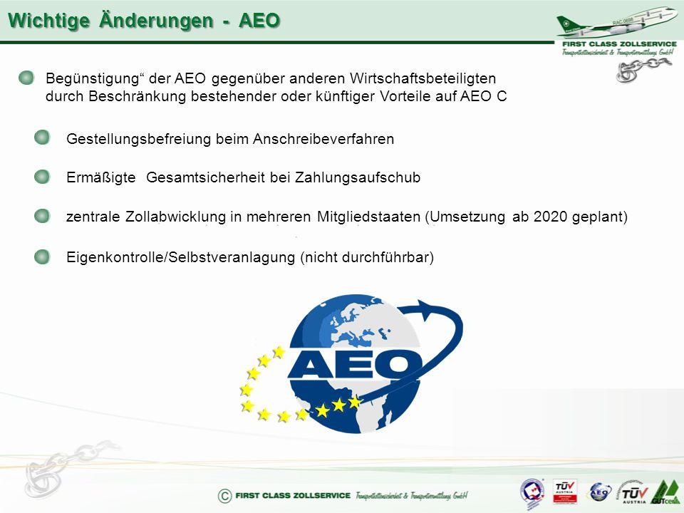 """Begünstigung"""" der AEO gegenüber anderen Wirtschaftsbeteiligten durch Beschränkung bestehender oder künftiger Vorteile auf AEO C Gestellungsbefreiung b"""