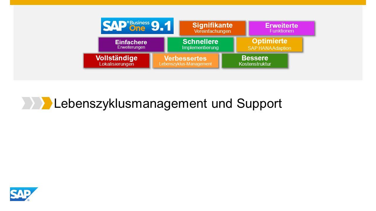 Lebenszyklusmanagement und Support Optimierte SAP HANA Adaption Optimierte SAP HANA Adaption Einfachere Erweiterungen Erweiterte Funktionen Schnellere Implementierung Bessere Kostenstruktur Vollständige Lokalisierungen Verbessertes Lebenszyklus-Management Signifikante Vereinfachungen