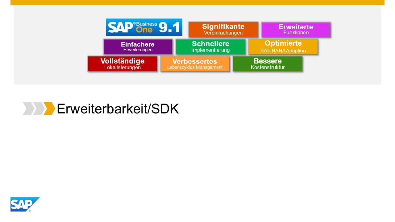 Erweiterbarkeit/SDK Optimierte SAP HANA Adaption Optimierte SAP HANA Adaption Einfachere Erweiterungen Erweiterte Funktionen Schnellere Implementierung Bessere Kostenstruktur Vollständige Lokalisierungen Verbessertes Lebenszyklus-Management Signifikante Vereinfachungen