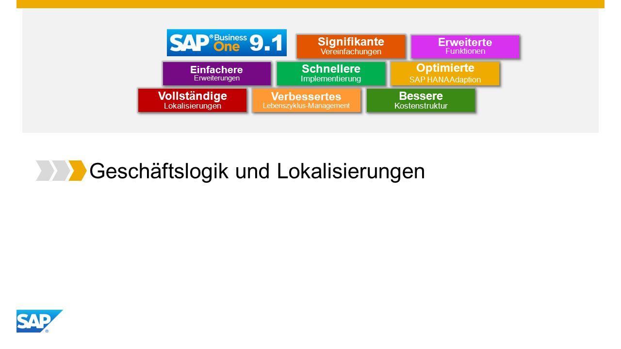 Geschäftslogik und Lokalisierungen Optimierte SAP HANA Adaption Optimierte SAP HANA Adaption Einfachere Erweiterungen Erweiterte Funktionen Schnellere Implementierung Bessere Kostenstruktur Vollständige Lokalisierungen Verbessertes Lebenszyklus-Management Signifikante Vereinfachungen