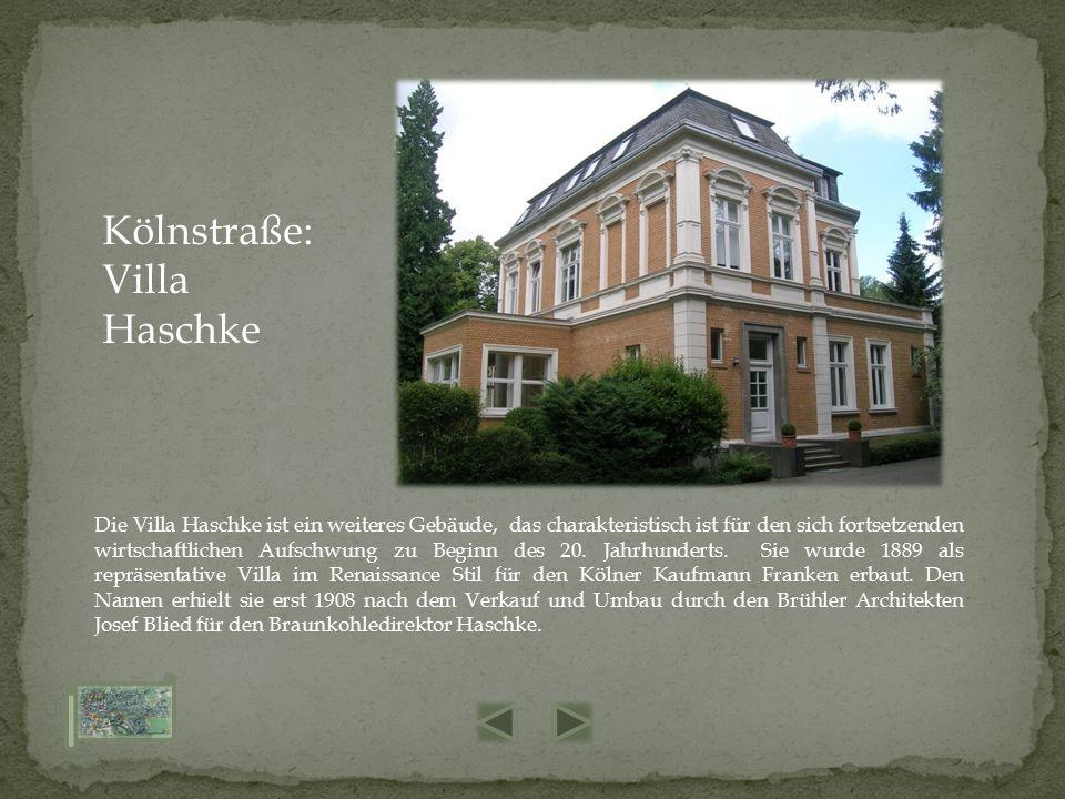 Die Villa Haschke ist ein weiteres Gebäude, das charakteristisch ist für den sich fortsetzenden wirtschaftlichen Aufschwung zu Beginn des 20. Jahrhund