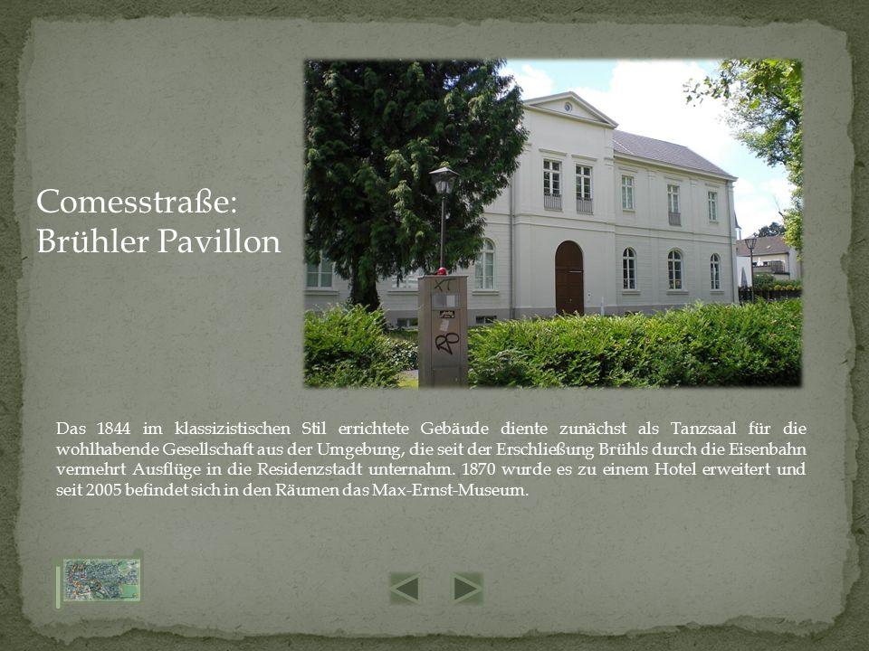 Das 1844 im klassizistischen Stil errichtete Gebäude diente zunächst als Tanzsaal für die wohlhabende Gesellschaft aus der Umgebung, die seit der Erschließung Brühls durch die Eisenbahn vermehrt Ausflüge in die Residenzstadt unternahm.