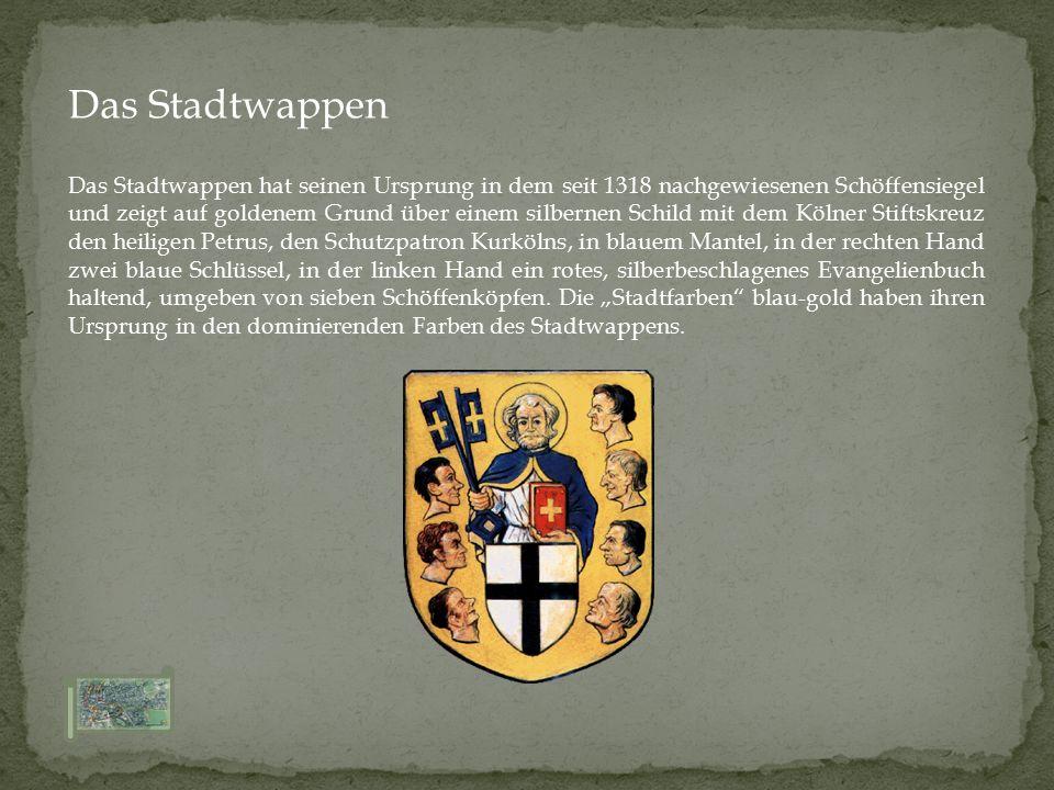 Das Stadtwappen hat seinen Ursprung in dem seit 1318 nachgewiesenen Schöffensiegel und zeigt auf goldenem Grund über einem silbernen Schild mit dem Kö