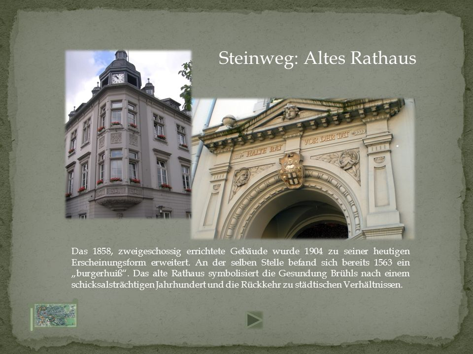 Das 1858, zweigeschossig errichtete Gebäude wurde 1904 zu seiner heutigen Erscheinungsform erweitert.