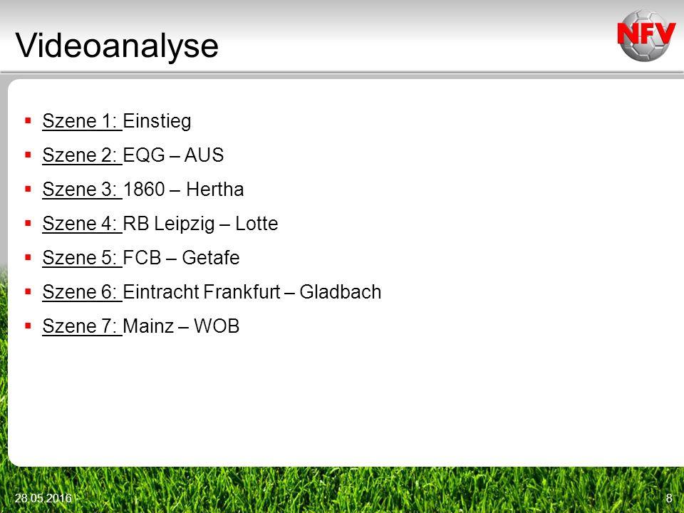 Videoanalyse 28.05.20168  Szene 1: Einstieg  Szene 2: EQG – AUS  Szene 3: 1860 – Hertha  Szene 4: RB Leipzig – Lotte  Szene 5: FCB – Getafe  Szene 6: Eintracht Frankfurt – Gladbach  Szene 7: Mainz – WOB