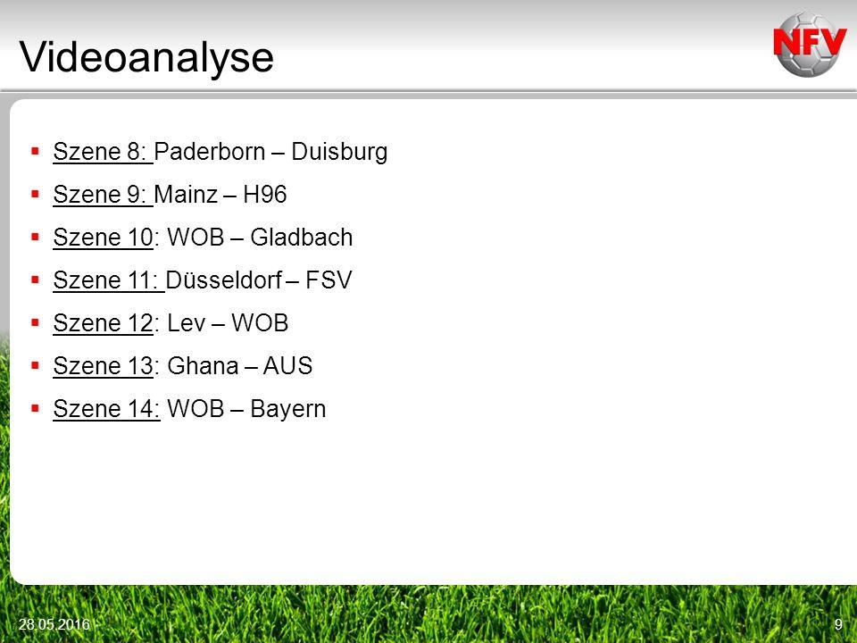 Videoanalyse 28.05.20169  Szene 8: Paderborn – Duisburg  Szene 9: Mainz – H96  Szene 10: WOB – Gladbach  Szene 11: Düsseldorf – FSV  Szene 12: Lev – WOB  Szene 13: Ghana – AUS  Szene 14: WOB – Bayern
