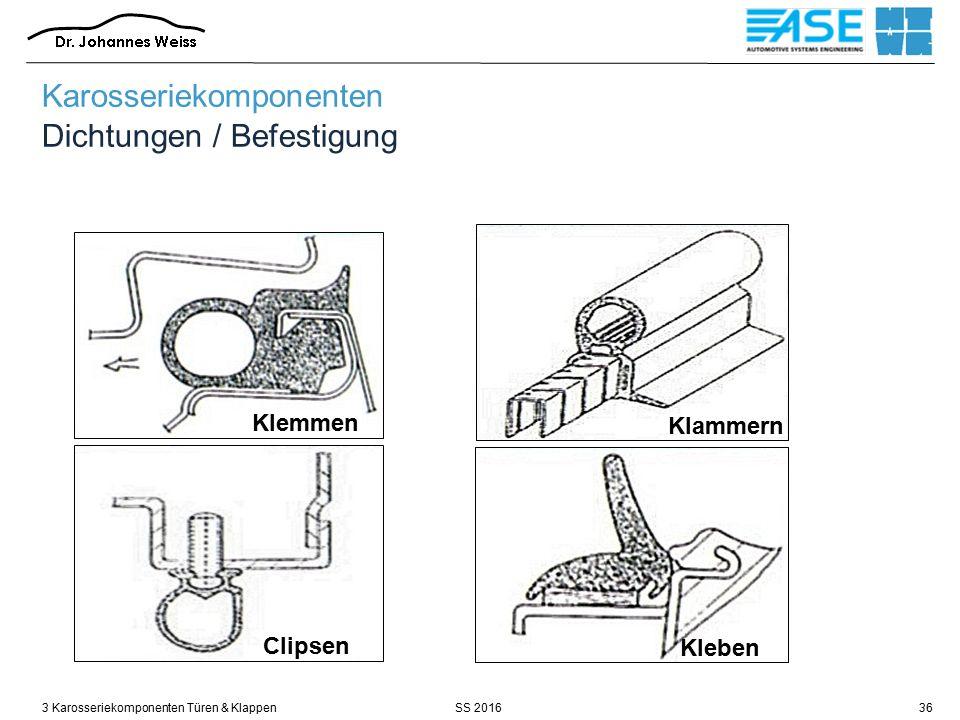 SS 20163 Karosseriekomponenten Türen & Klappen36 Karosseriekomponenten Dichtungen / Befestigung Klemmen Klammern Kleben Clipsen
