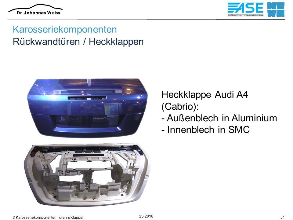 SS 2016 3 Karosseriekomponenten Türen & Klappen51 Heckklappe Audi A4 (Cabrio): - Außenblech in Aluminium - Innenblech in SMC Karosseriekomponenten Rückwandtüren / Heckklappen