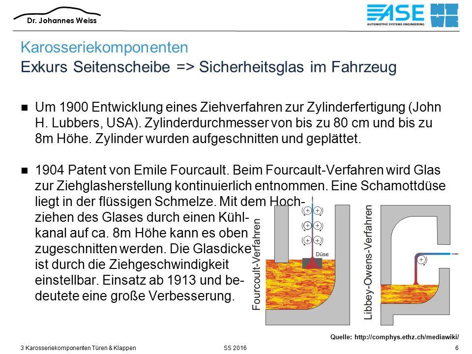 SS 20163 Karosseriekomponenten Türen & Klappen47 Quelle: Röth / FH Aachen Fenstermechanik bestimmt als zentrales Bauteil das gesamte Türkonzept Karosseriekomponenten Türen / Modulare Türbauweisen - Fensterhebesysteme
