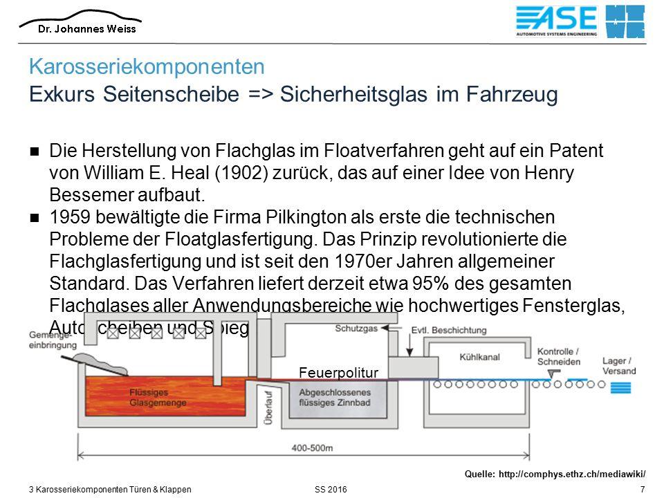 SS 20163 Karosseriekomponenten Türen & Klappen48 Quelle: Röth / FH Aachen Profil- Scharnier (Standard) SoftStop / Rastschieber Torsionsfeder Karosseriekomponenten Türen / Scharniere