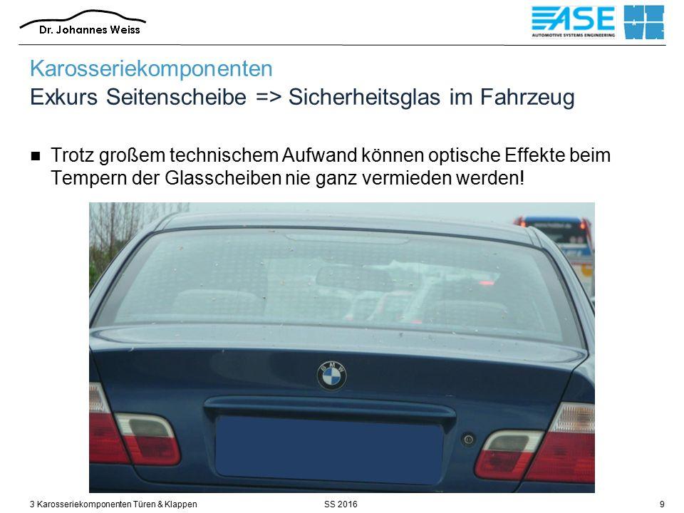 SS 20163 Karosseriekomponenten Türen & Klappen10 Karosseriekomponenten Exkurs Seitenscheibe => Sicherheitsglas im Fahrzeug / Bauweisen – Einscheibensicherheitsglas (ESG) 1.