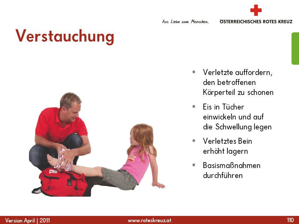 www.roteskreuz.at Version April | 2011 Verstauchung 110  Verletzte auffordern, den betroffenen Körperteil zu schonen  Eis in Tücher einwickeln und auf die Schwellung legen  Verletztes Bein erhöht lagern  Basismaßnahmen durchführen