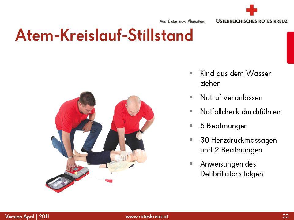 www.roteskreuz.at Version April | 2011 Atem-Kreislauf-Stillstand 33  Kind aus dem Wasser ziehen  Notruf veranlassen  Notfallcheck durchführen  5 Beatmungen  30 Herzdruckmassagen und 2 Beatmungen  Anweisungen des Defibrillators folgen